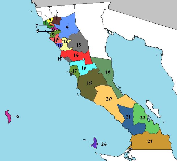 Mapa que muestra las delegaciones municipales de Ensenada, BC (Foto: internet)