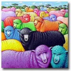 ovejitas de colore con una negra