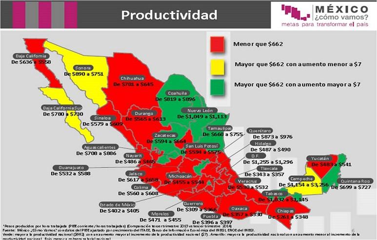 PRODUCTIVIDAD MEXICO MAPA2014