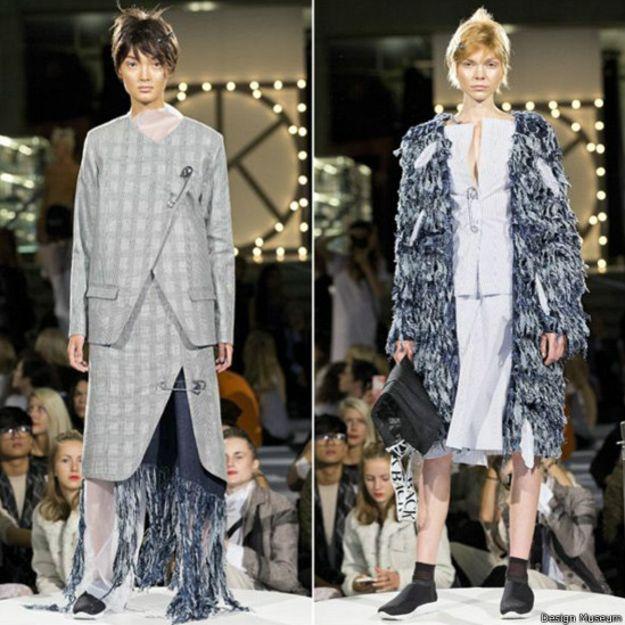 Sofie Back es una de los ocho finalistas en la categoría de moda. Su obra es notable por sus cinturas acentuadas, los imperdibles broches gigantes, y los jeans de flecos.