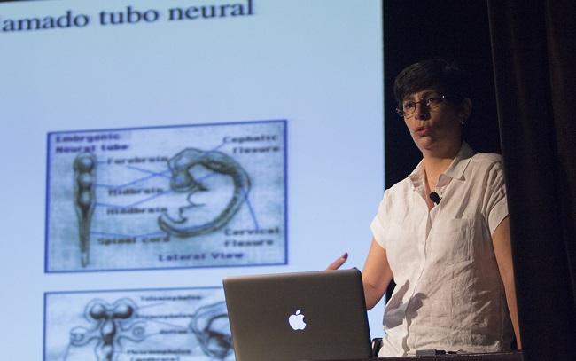 La biomédica Susana Castro Obregón, del Instituto de Fisiología Celular de la UNAM, habló sobre los avances en los estudios de la muerte celular programada (Foto: AMC).