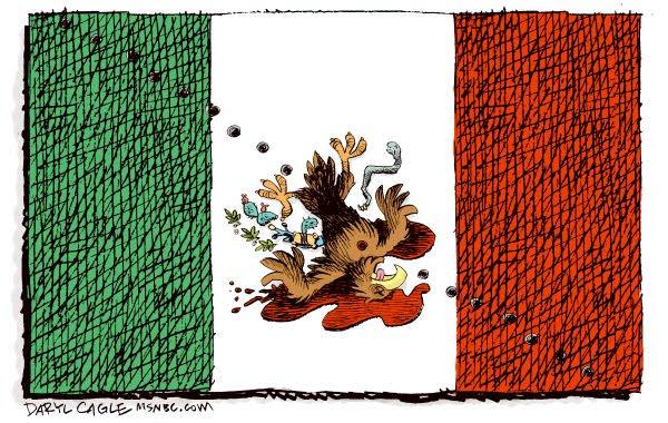 MEXICO BANDERA AGUILA ASESINADA