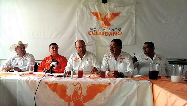 La dirigencia local y estatal de Movimiento Ciudadano, cuarta fuerza política de Baja California luego de la jornada electoral del 7 de junio (Foto: Cortesía Movimiento Ciudadano).