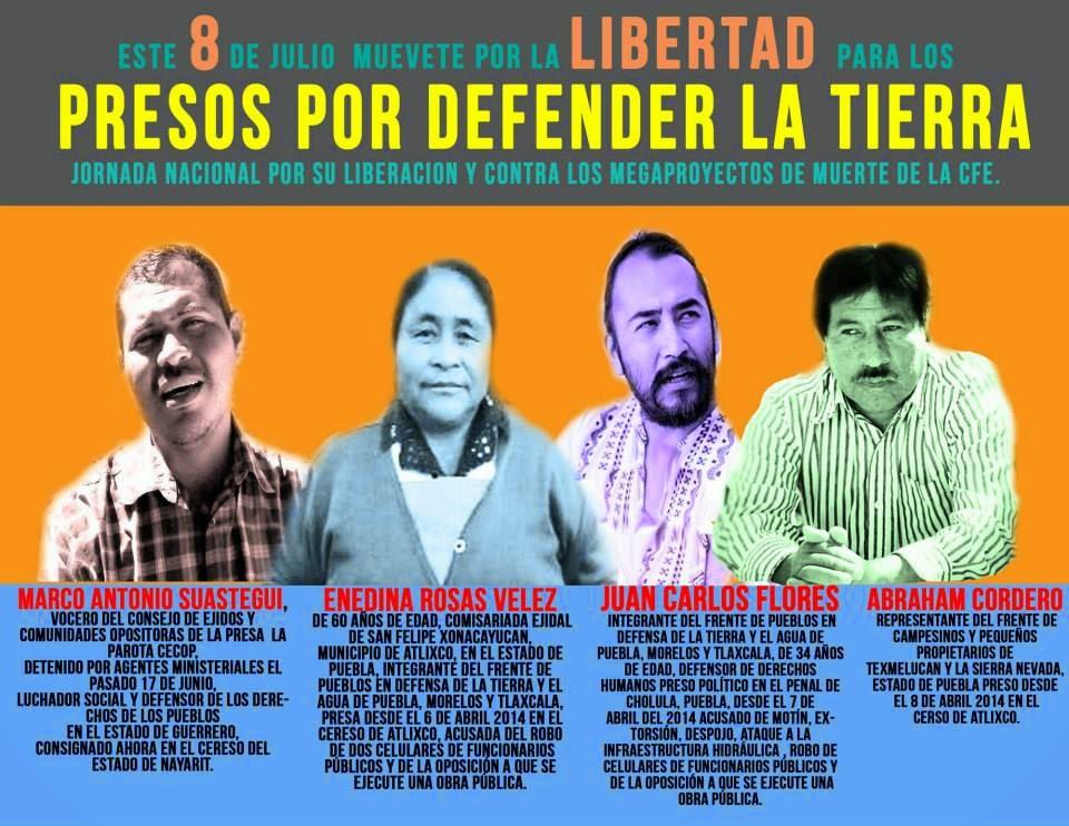 PRESOS POR DEFENDER TIERRA