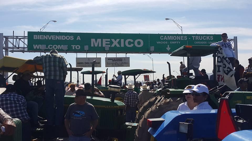 La protesta campesina en las garitas de Chihuahua (Foto: internet).