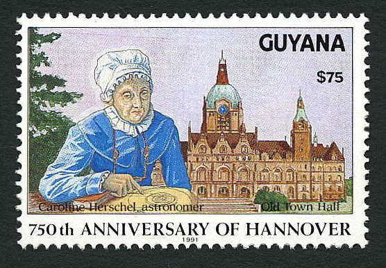 En 1991, Guyana emitió este timbre postal conmemorativo que incluyó un retrato de la extraordinaria astrónoma (Foto: Internet).