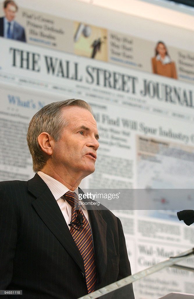 Paul E. Steiger, managing editor of The Wall Street Journal, discusses the re-designed Wall Street Journal newspaper that will go on newsstands in January, 2007 during a news conference in New York, Monday, December 4, 2006. Photographer: Ramin Talaie/Bloomberg News.