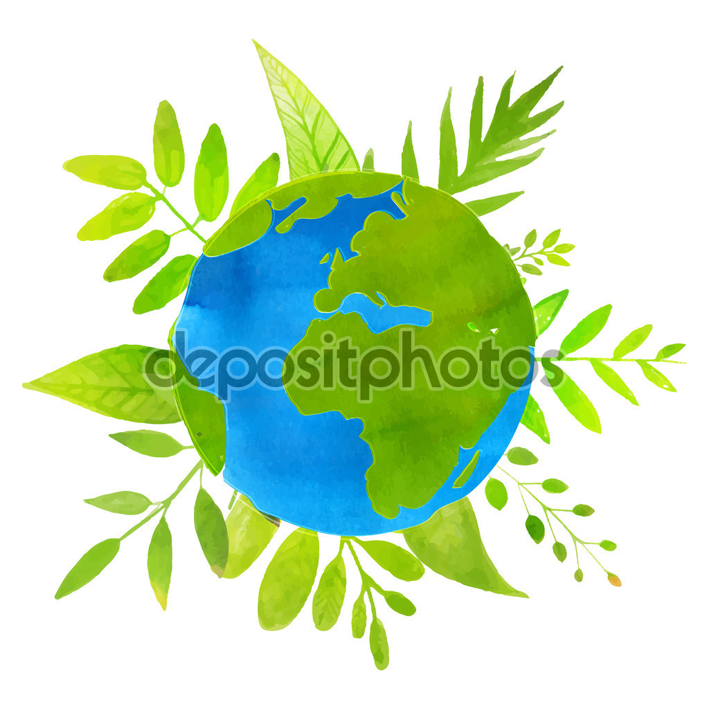 Green planet concept earth illustration with watercolor texture and hand drawn leaves and plants. Eco friendly.