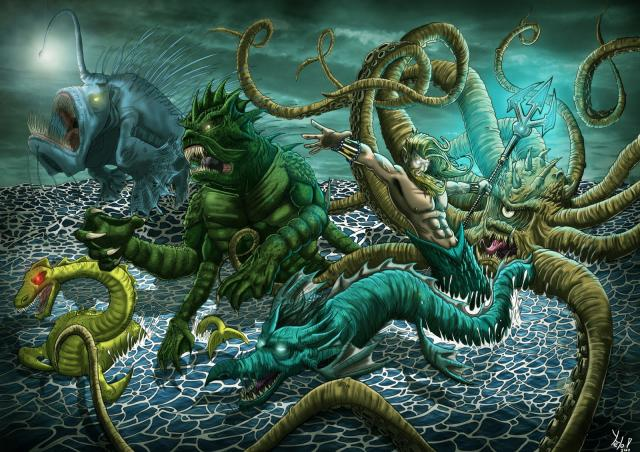 Ya sea en la religión, en los mitos de creación de muchas culturas, en la literatura o simplemente en la cultura pop, nos hemos encargado de llenar nuestras mentes de monstruos marinos que nos hacen temer nadar en las profundidades del mar más que hacerlo en las contaminadas aguas del balneario local (Imagen: Internet).
