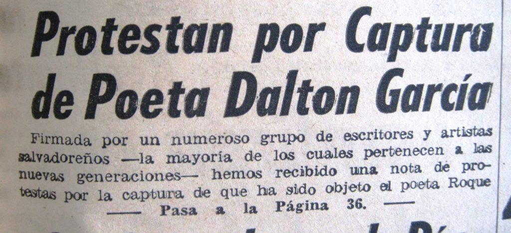 ROQUE DALTON PROESTA ARTISTAS PRENSA