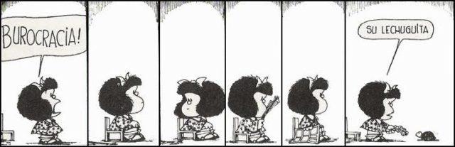 La burocracia representada por una tortuga desde la perspectiva del caricaturista de Mafalda. Ilustración: Quino.