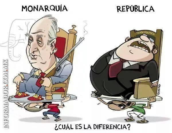 """""""Diferencias"""" entre Monarquía y República. Fuente: El informador"""