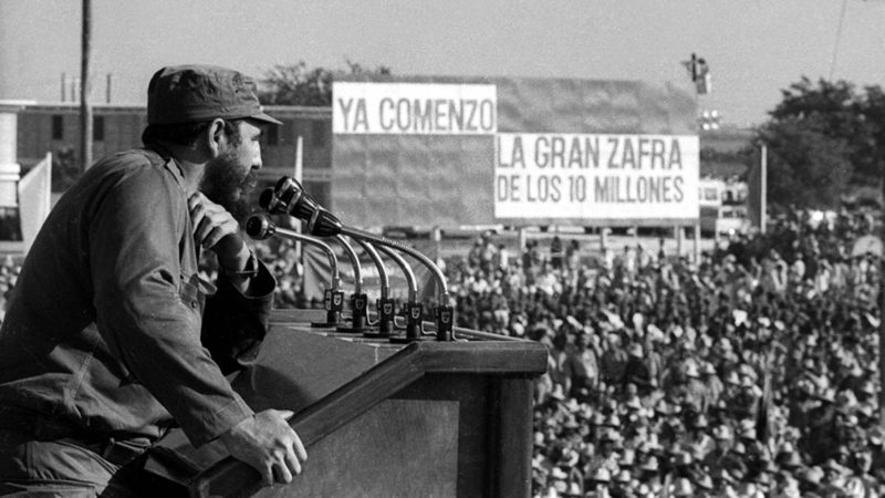 Fidel Castro addresses the crowd after the 10 million tons sugar harvest began in Cuba in this file photo from 1970. After 18 months of secret talks facilitated by the Vatican and Canada, Obama and Cuban President Raul Castro agreed by phone December 16, 2014 on a prisoner exchange and the opening of embassies in each other's countries. In a television speech December 17, 2014, Obama announced the end of what he called a rigid and outdated policy of isolating Cuba that had been ineffective in achieving change on the island. REUTERS/Prensa Latina/Files (CUBA - Tags: POLITICS PROFILE)