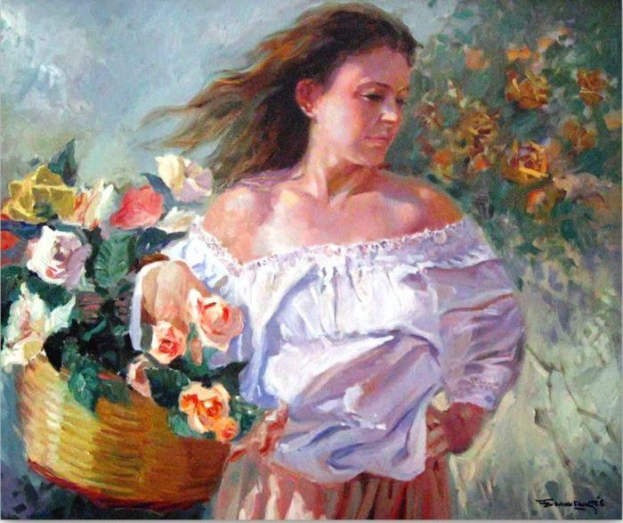mujer-flores-canasto-francisco-sanchis-cortes